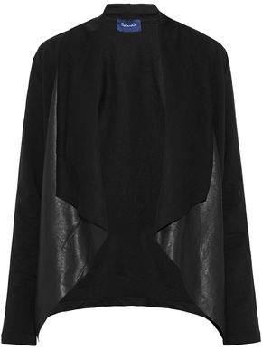 Splendid Faux Leather-Paneled Draped Cotton-Blend Jacket