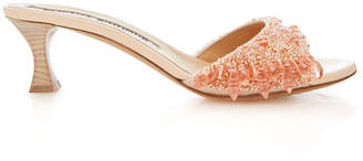 Brock Collection Tabitha Simmons for Embroidered Leather Kitten Heel Slides