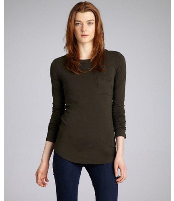 Wyatt dark olive stretch cotton blend long sleeve pocket t-shirt