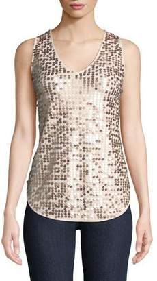 Joan Vass Sleeveless Sequin Tank