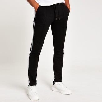 Mens Black super skinny smart jogger trousers