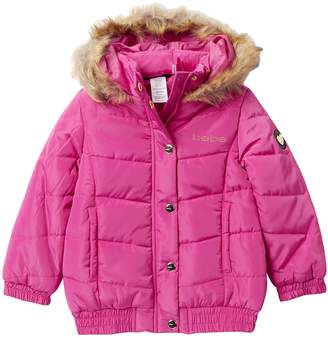 Bebe Sequins Logo Puffer Jacket with Faux Fur Trim (Toddler & Little Girls)