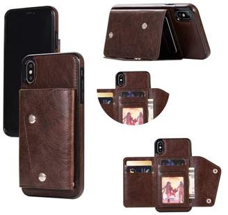 HLC Kickstand Wallet Case with Credit Card Pockets for iPhone Xs Max-Brown