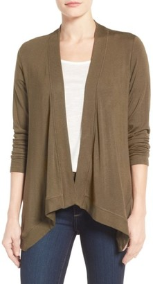 Petite Women's Bobeau Exposed Topstitch Cardigan $58 thestylecure.com