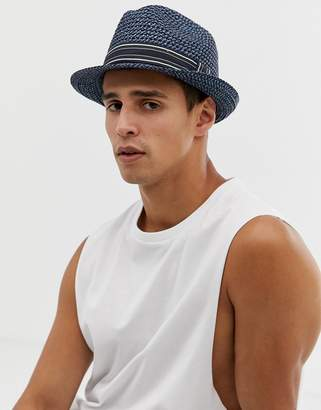 Ted Baker Syrup straw trilby in blue