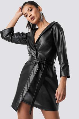 NA-KD Hannalicious X Faux Leather Blazer Dress Black