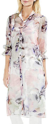 Vince Camuto Quarter-Sleeve Side-Tie Diffused Bloom Tunic