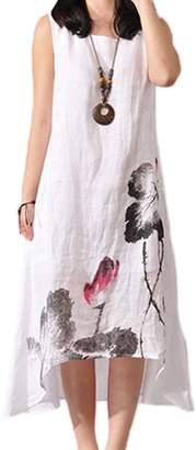 Zilcremo Women Vintage Sleeveless Asymmetric Loose Cotton Linen Maxi Dress Plus Size XL