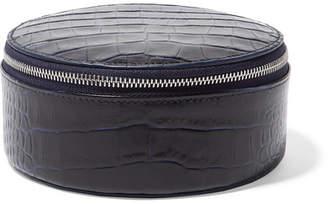 Smythson Mara Croc-effect Leather Travel Case - Navy