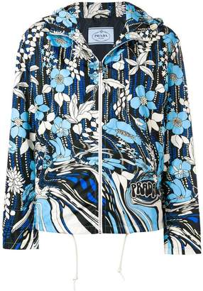 Prada floral print windbreaker jacket