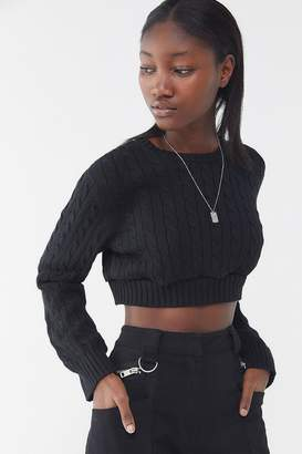 Urban Renewal Vintage Recycled Cable Knit Cropped Sweater