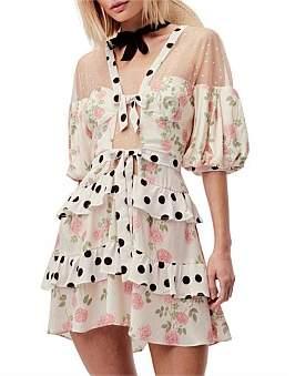 For Love & Lemons Butterscotch Tiered Mini Dress