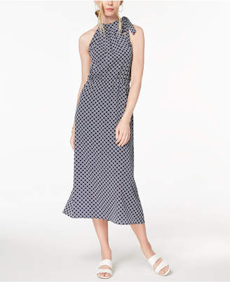 Maison Jules Printed Tie-Neck Midi Dress, Created for Macy's