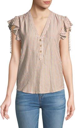 Veronica Beard Blakely Striped Flutter-Sleeve Top