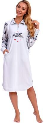Patricia from Paris Women's Cute Owl Print Polar Fleece Nightgown PJ Lounger with Pockets (M, Grey Owl Love)