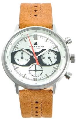 Lucky Brand Men's Fairfax MF Center Stitch Tan Suede Strap Watch, 40mm