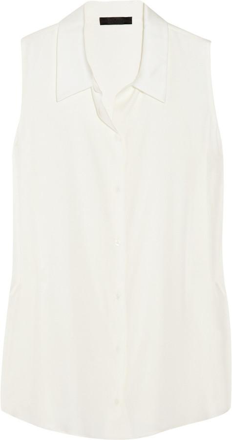 The Row Songel stretch silk-georgette blouse