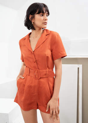 And other stories Belted Linen Blend Romper