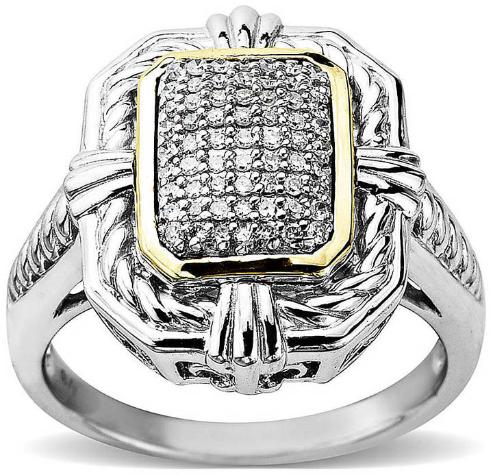 Lord & Taylor Diamond Accented Ring in Sterling Silver with 14 Kt. Yellow Gold, 0.2 ct. t.w.