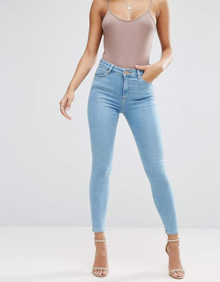 Asos Ridley High Waist Skinny Jeans in Anais Pretty Mid Wash