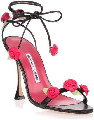 Manolo Blahnik Xafiore black leather rose sandal