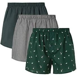 Mallard Organic Cotton Boxers, Pack of 3, Green/Multi