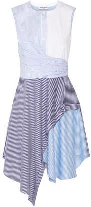 Opening Ceremony - Cody Asymmetric Striped Cotton-blend Poplin And Jersey Dress - Sky blue $295 thestylecure.com