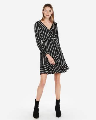 Express Striped Elastic Waist Ruffle Wrap Dress