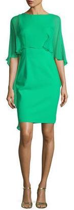 Rickie Freeman for Teri Jon Cape-Sleeve Scuba Sheath Dress $495 thestylecure.com