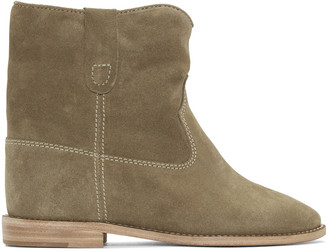 Isabel Marant Taupe Suede Crisi Boots $680 thestylecure.com
