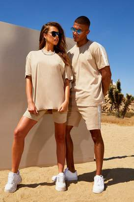 boohoo His Loose Fit Side Tape T-Shirt & Short Set