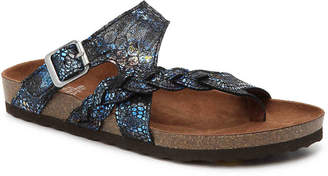 White Mountain Hamilton Flat Sandal -Blue Embossed Metallic - Women's