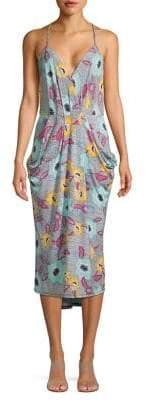 BCBGeneration Batik Floral Surplice Midi Dress