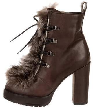 Brunello Cucinelli Fur-Trimmed Ankle Boots w/ Tags Brown Fur-Trimmed Ankle Boots w/ Tags