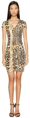 Just Cavalli Short Sleeve V-Neck Mixed Animal Print Jersey Dress Women's Dress