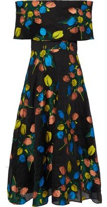 Lela Rose Metallic Off-The-Shoulder Brocade Midi Dress