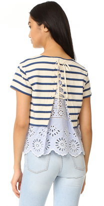 Sea Stripe and Eyelet Tee $250 thestylecure.com