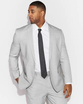 Express Classic Light Gray Cotton Pindot Suit Jacket