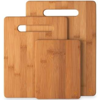 Bambusi 3 Piece Bamboo Cutting Board Set, Wooden Chopping & Serving Tray for Food Prep, Meat, Vegetables, Cheese, Crackers & More,