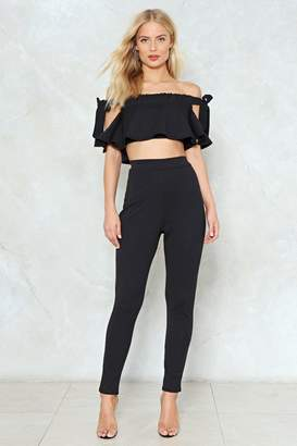 Nasty Gal Out of Office Off-the-Shoulder Top and Pants Set