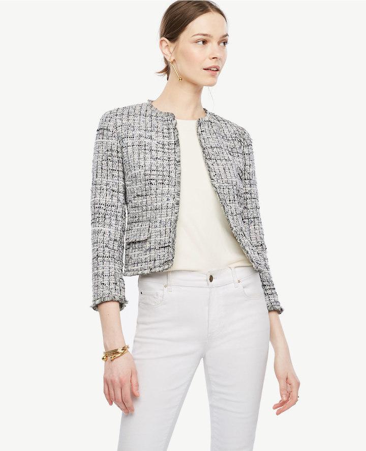 Grid Fringe Tweed Open Jacket