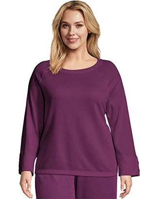 Just My Size Women's Plus Size Sweatshirt with Lace-up Sleeves