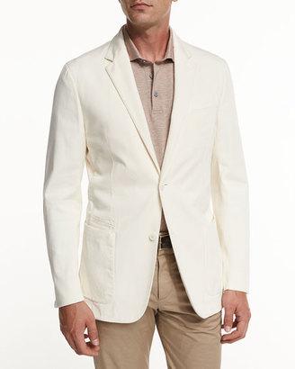 Ermenegildo Zegna Soft Stretch-Cotton Sport Jacket, Light Beige $1,295 thestylecure.com