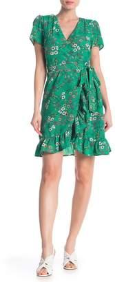 Luxology Floral Ruffle Hem Wrap Dress