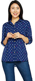 "C. Wonder Anchor Print Button Front""Carrie"" Blouse"