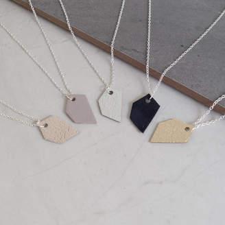 Tessa Marie Cox Geometric Odd Shape Leather Pendant Necklace
