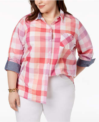 Tommy Hilfiger Plus Size Cotton Plaid Shirt, Created for Macy's