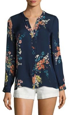 Joie Devitri Floral-Printed Silk Blouse