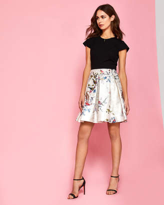 Ted Baker BRIEGE Opulent Fauna contrast skirt dress