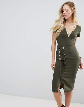 Asos Design Midi Dress with Lace Up